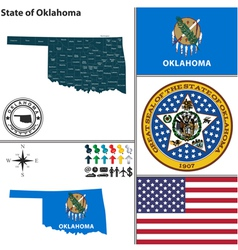 Map of Oklahoma with seal vector image vector image