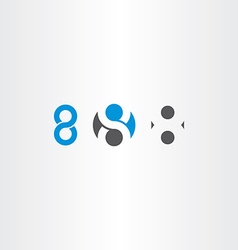 number 8 eight sign symbol set vector image vector image