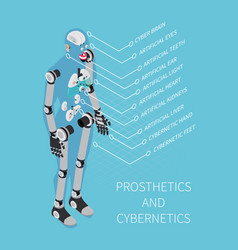 prosthetics and cybernetics isometric composition vector image vector image