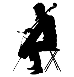 Silhouettes a musician playing the cello vector image vector image