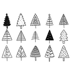 0001 set hand drawn christmas tree isolated vector