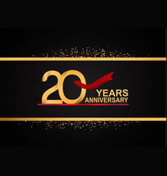 20 years anniversary logotype with golden color vector