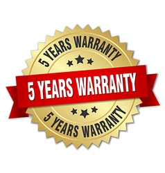 5 years warranty 3d gold badge with red ribbon vector