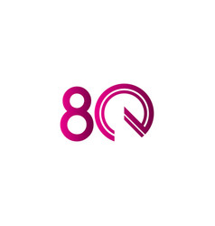 80 years anniversary celebration purple line vector