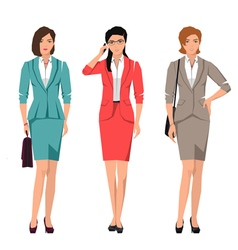 Active young women in suits for office set vector