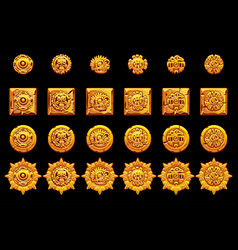 Ancient mexican mythology golden symbols isolated vector
