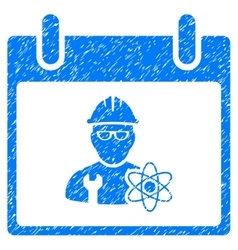 Atomic Engineer Calendar Day Grainy Texture Icon vector image