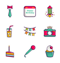 birthday entertainment icons set flat style vector image