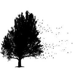 black tree with flying leafs symbol for sorrow vector image