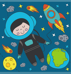 boy astronaut in space vector image