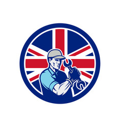 British auto mechanic union jack flag icon vector