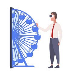 businessman wearing digital glasses business man vector image
