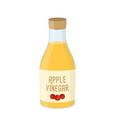 Cartoon bottle of apple vinegar condiment vector