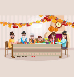 cartoon family celebrating thanksgiving day vector image