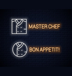 chef uniform neon sign chefs jacket linear neon vector image