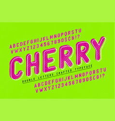 Cherry condensed display font popart design vector