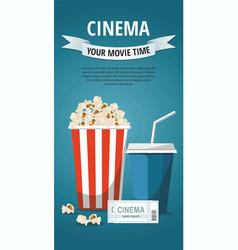 cinema popcorn bowl drinktickets vector image
