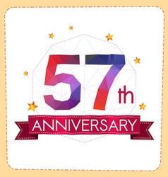 Colorful polygonal anniversary logo 2 057 vector