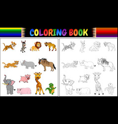 coloring book with wild animals collection vector image
