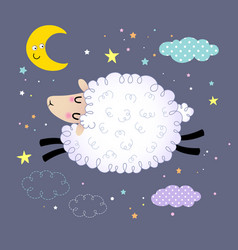 Cute sheep jumping in night sky vector