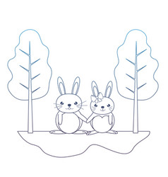 Degraded line cute couple rabbit animal in the vector