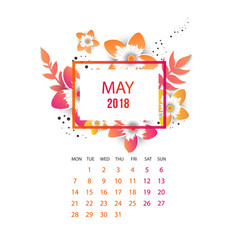 Design floral template calendar 2018 vector