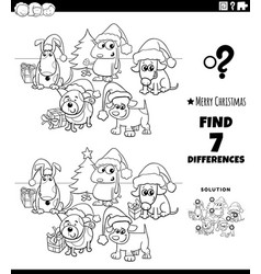 differences game with dogs on christmas time vector image