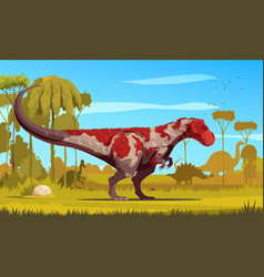 Dinosaurs cartoon colored poster vector