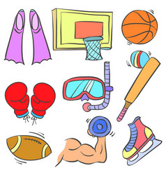 Doodle of sport equipment colorful hand draw vector