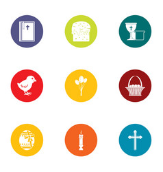 easter icons set flat style vector image