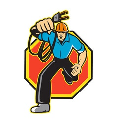 Electrician Worker Running Electrical Plug vector image