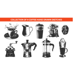 engraved style coffee drink collection for vector image