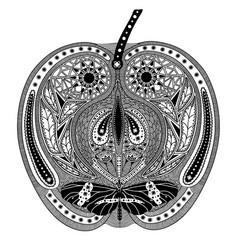 Entangle stylized black apple hand drawn vector