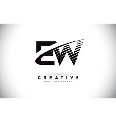 Ew e w letter logo design with swoosh and black vector