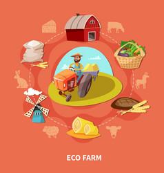 farm cartoon colored composition vector image