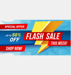 flash sale banner lightning sales poster fast vector image
