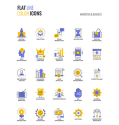 flat line multicolor icons design-marketing and vector image vector image