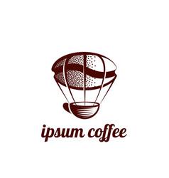 Flying coffee mug and a coffee grain logo vector