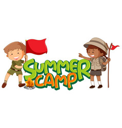 Font design for word summer camp with kids in vector