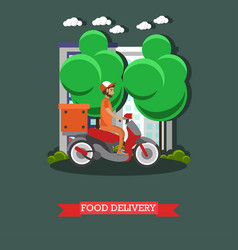 Food delivery in flat style vector