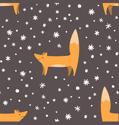 foxes and snowflakes seamless pattern winter vector image