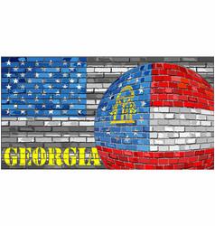 Georgia flag on the grey usa flag background vector