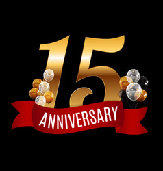 golden 15 years anniversary template with red vector image