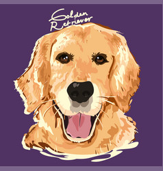 golden retriever painting poster vector image
