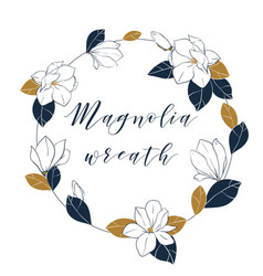 graphic magnolia wreath in deep blue and bronze vector image