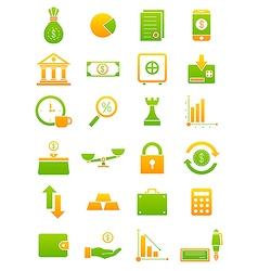 Green yellow finance icons set vector