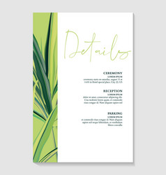 greenery palm invitation card template design vector image