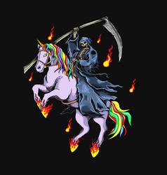 grim reaper with unicorn graph vector image