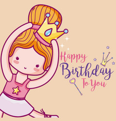 Happy birthday with cute ballet dancer card vector