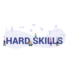 Hard skills concept with big word or text and vector